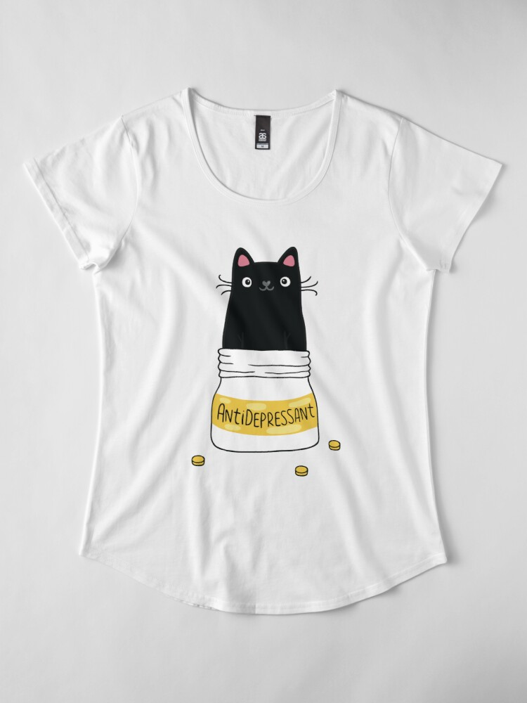 Alternate view of FUR ANTIDEPRESSANT . Cute black cat illustration. A gift for a pet lover. Premium Scoop T-Shirt