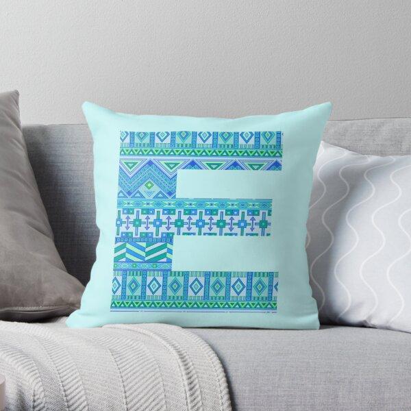 Letter E Blue Aztec Stripes Pattern Boho Monogram Initial Throw Pillow