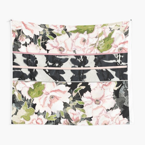 "Pink Peony Blossoms with Shibori ""Obi"" Tapestry"