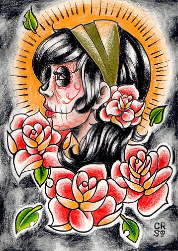 Quot Day Of The Dead Gypsy Tattoo Flash Drawing Quot By
