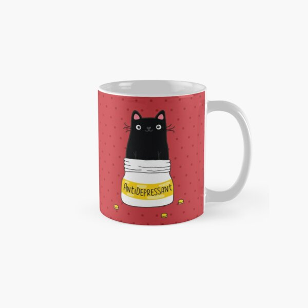 FUR ANTIDEPRESSANT . Cute black cat illustration. A gift for a pet lover. Classic Mug