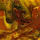 Firedrake: dragon painting, fluid acrylic pour paint by kerravonsen