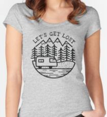Camiseta entallada de cuello ancho LET´S GET LOST