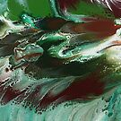 Fishes In The Sea: fluid acrylic pour painting by kerravonsen