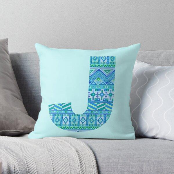 Letter J Blue Aztec Stripes Pattern Boho Monogram Initial Throw Pillow