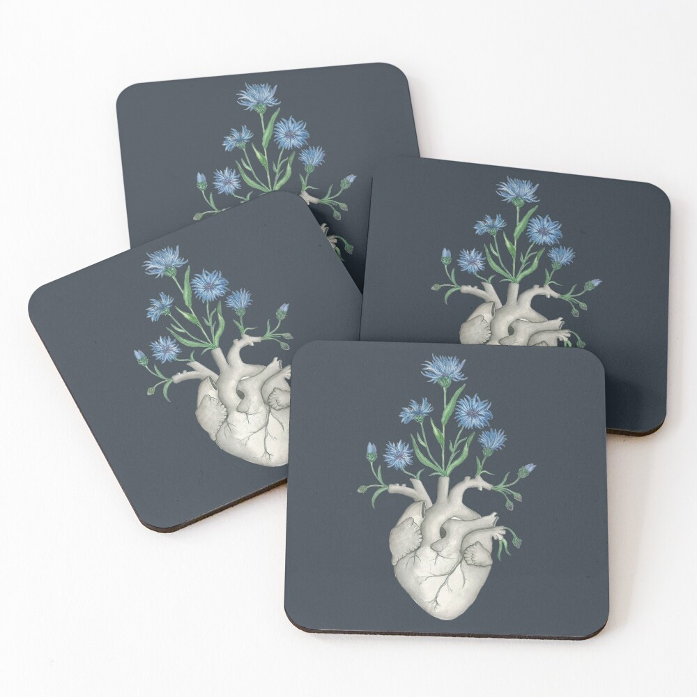 Floral Heart: Human Anatomy Cornflower Flower Halloween Gift Coasters (Set of 4)