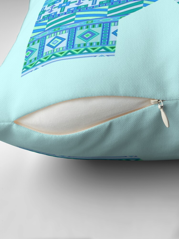 Alternate view of Letter K Blue Aztec Stripes Pattern Boho Monogram Initial Throw Pillow