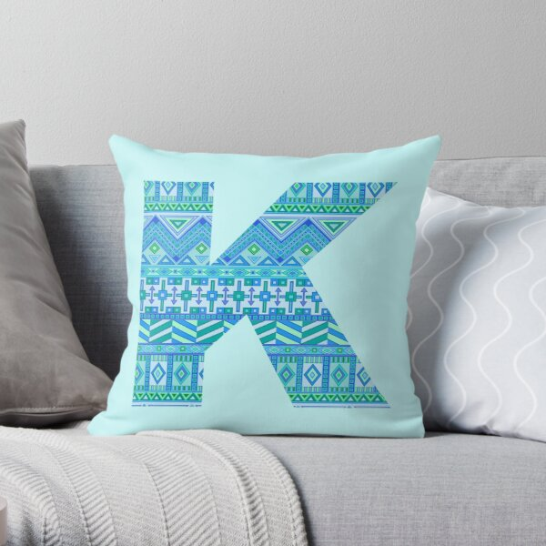 Letter K Blue Aztec Stripes Pattern Boho Monogram Initial Throw Pillow