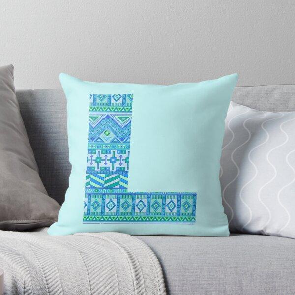 Letter L Blue Aztec Stripes Pattern Boho Monogram Initial Throw Pillow