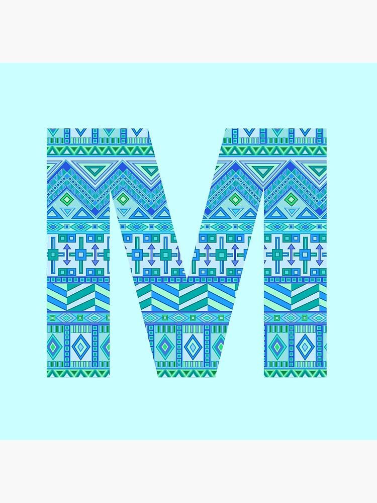 Letter M Blue Aztec Stripes Pattern Boho Monogram Initial by theartofvikki