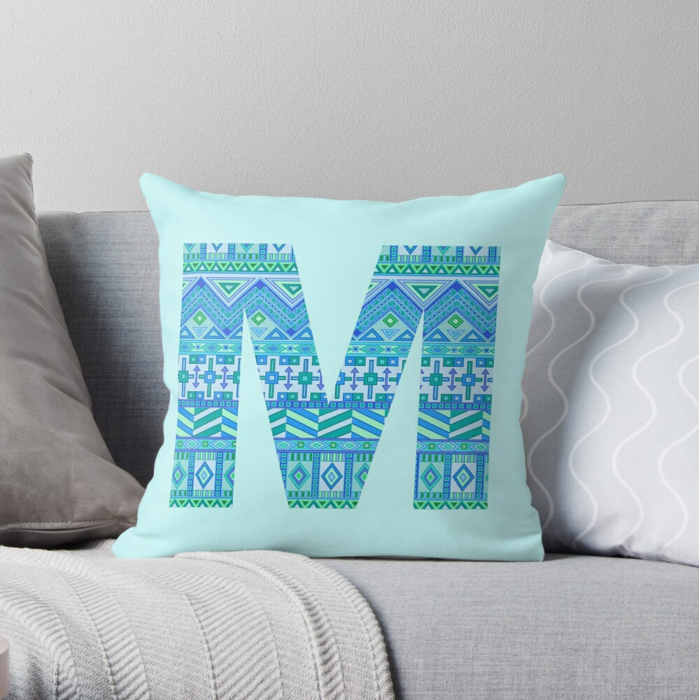 Letter M Blue Aztec Stripes Pattern Boho Monogram Initial Throw Pillow