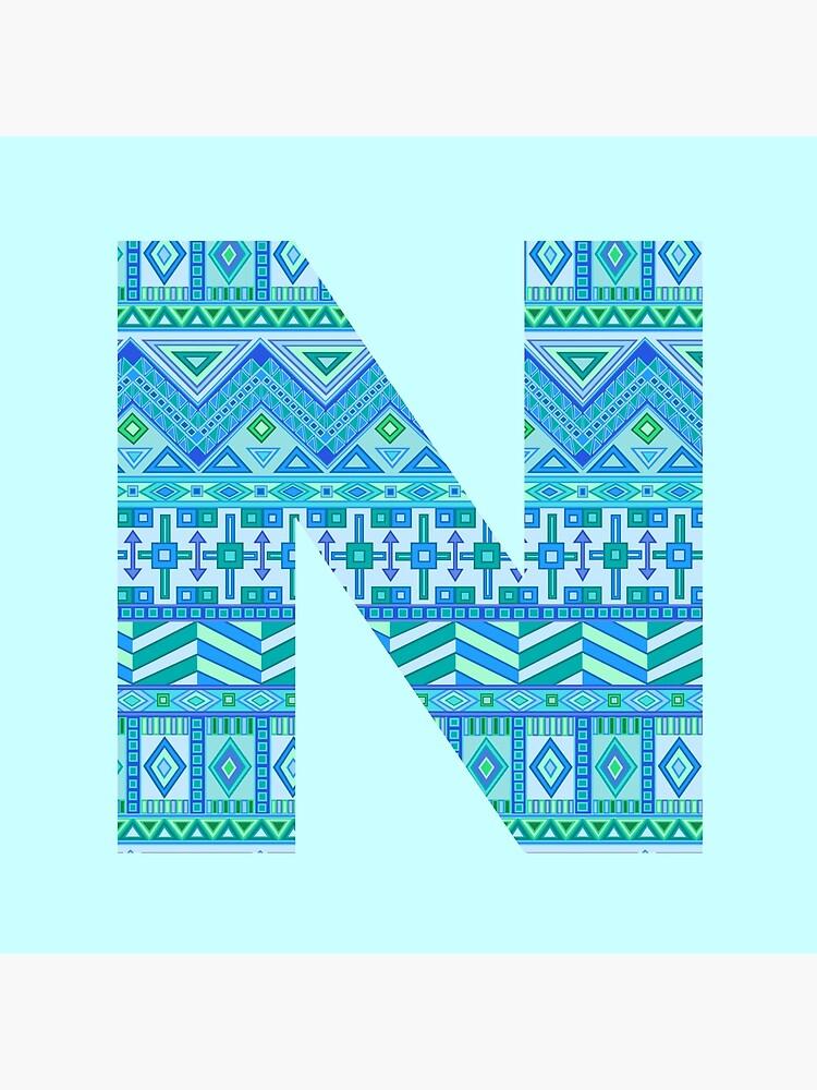 Letter N Blue Aztec Stripes Pattern Boho Monogram Initial by theartofvikki
