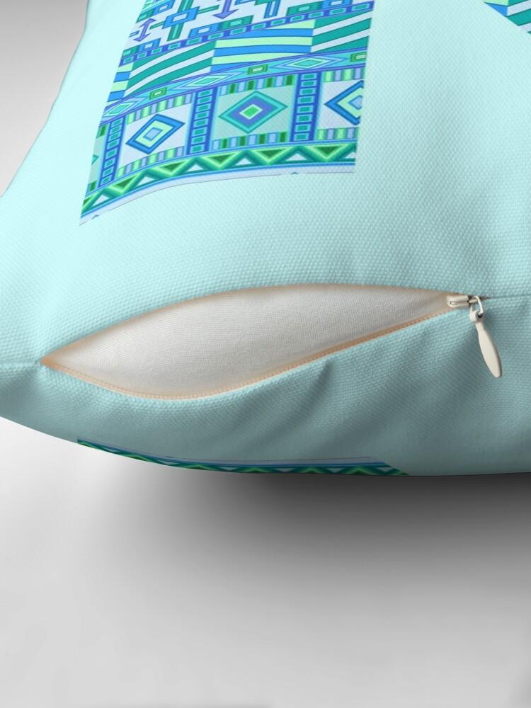 Alternate view of Letter N Blue Aztec Stripes Pattern Boho Monogram Initial Throw Pillow