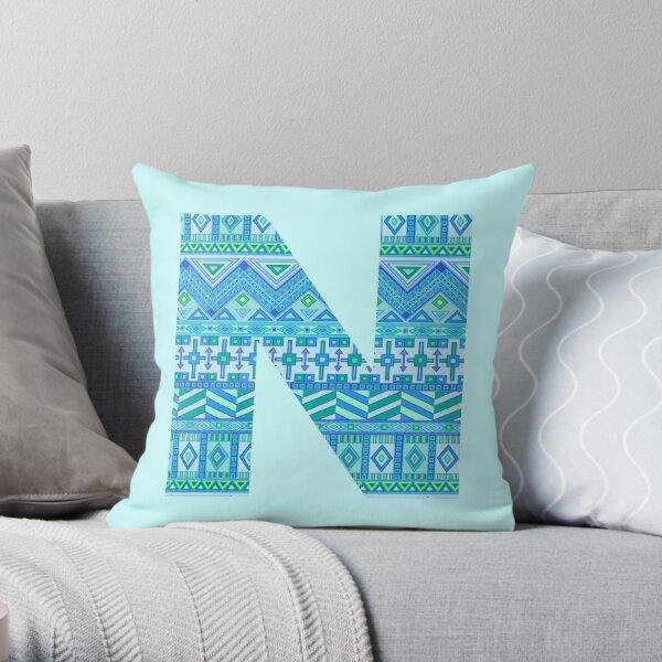 Letter N Blue Aztec Stripes Pattern Boho Monogram Initial Throw Pillow