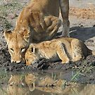 Mother and child drinking together(A little more and then we have to leave!) by Anthony Goldman
