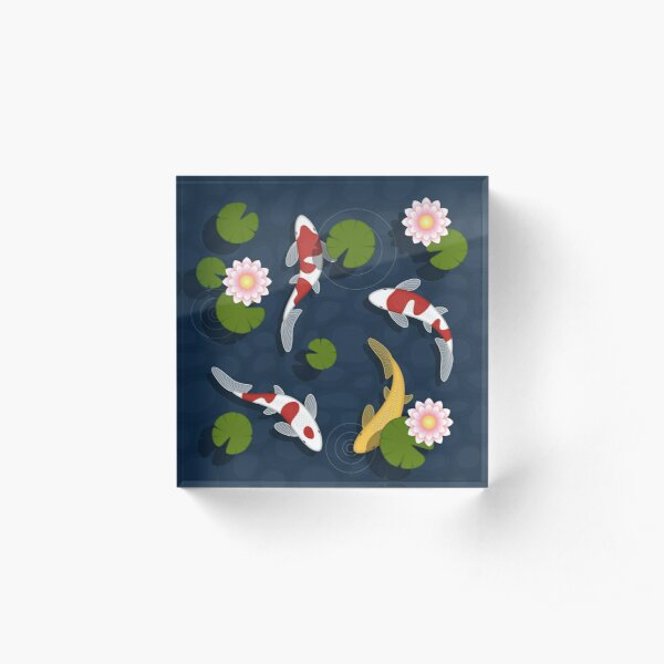 Japanese Koi Fish Pond Acrylic Block