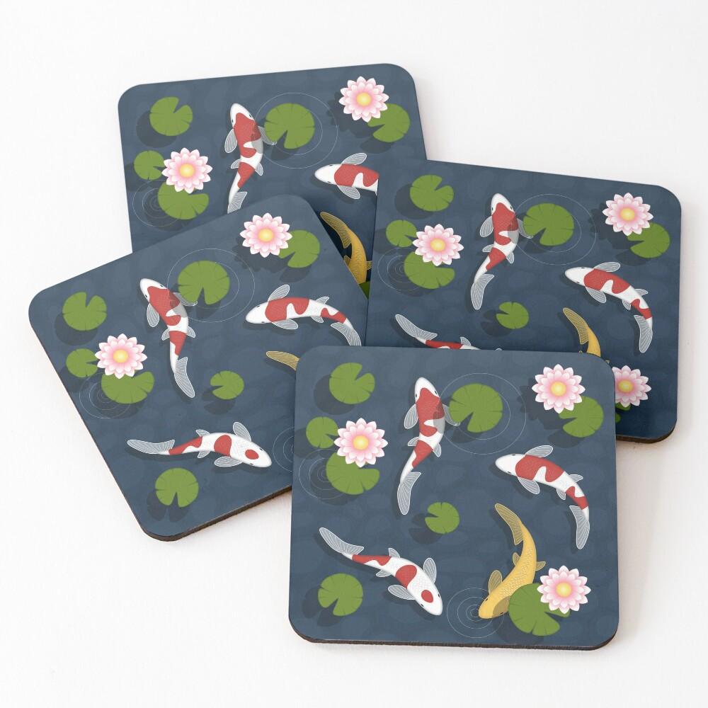 Japanese Koi Fish Pond Coasters (Set of 4)