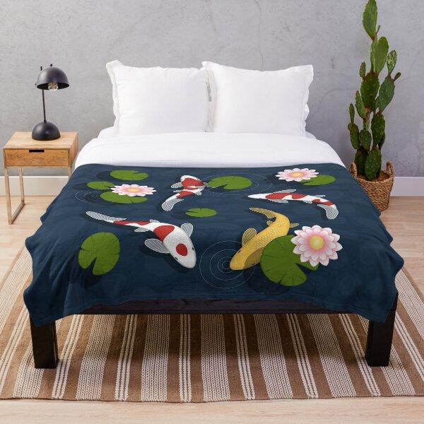 Japanese Koi Fish Pond Throw Blanket
