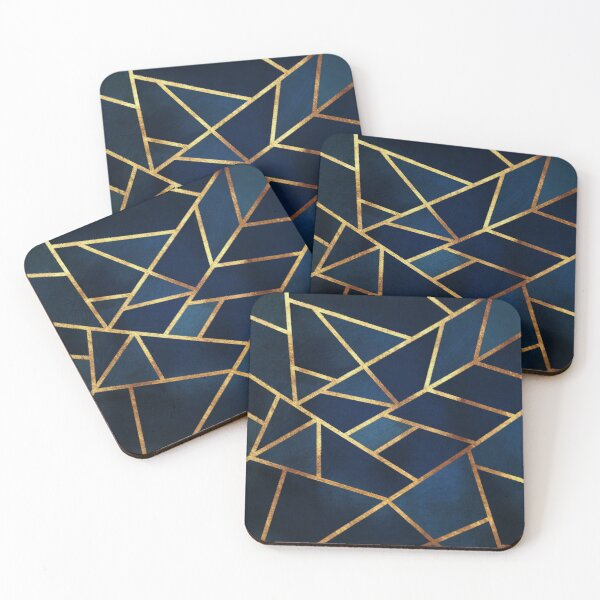 Navy Gold Stone Geometric Coasters (Set of 4)