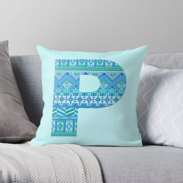 Letter P Blue Aztec Stripes Pattern Boho Monogram Initial Throw Pillow