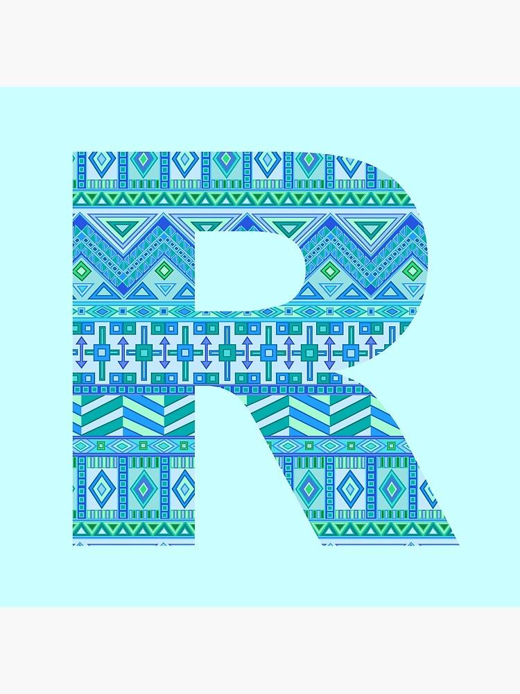 Letter R Blue Aztec Stripes Pattern Boho Monogram Initial by theartofvikki