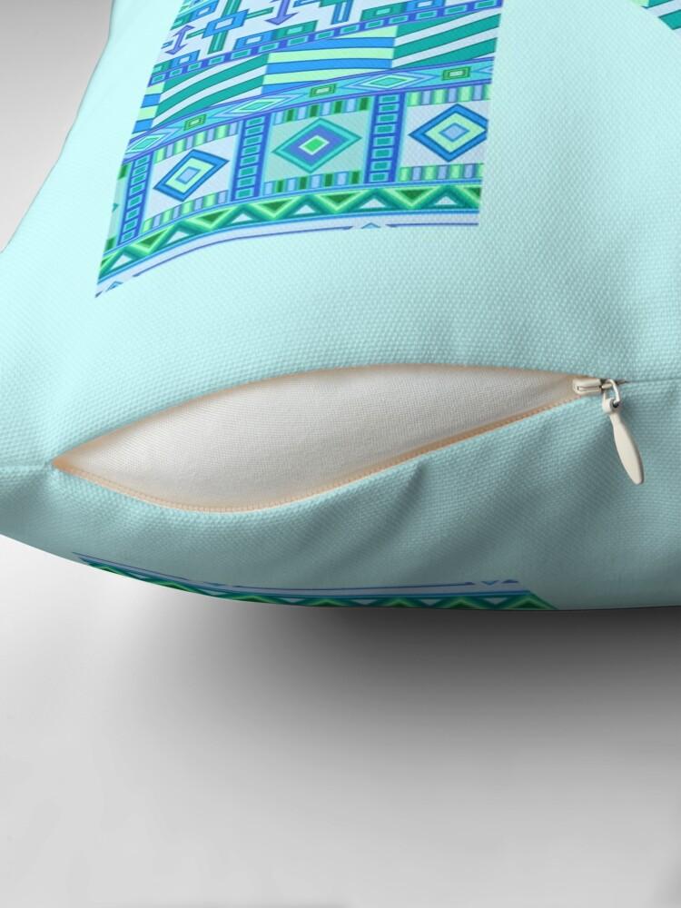 Alternate view of Letter R Blue Aztec Stripes Pattern Boho Monogram Initial Throw Pillow