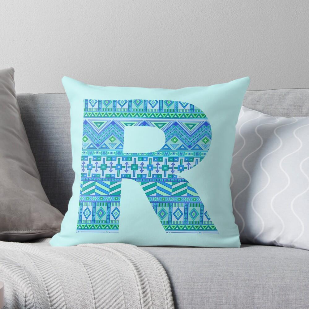 Letter R Blue Aztec Stripes Pattern Boho Monogram Initial Throw Pillow