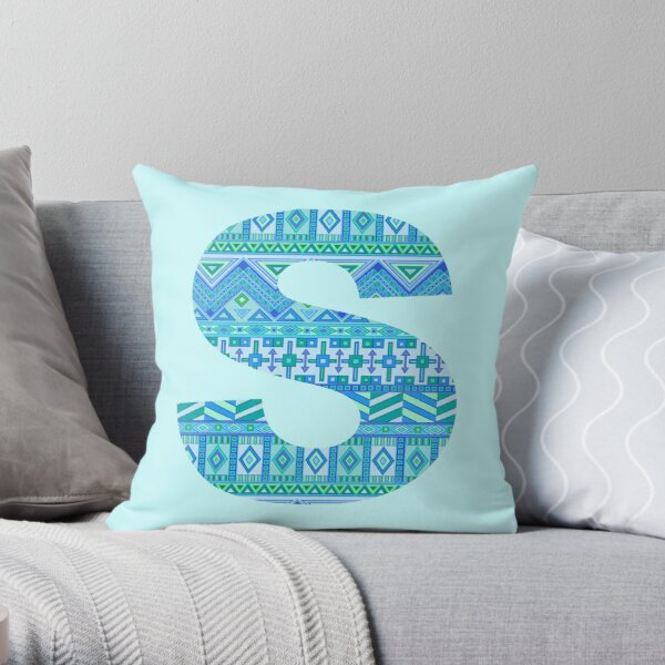 Letter S Blue Aztec Stripes Pattern Boho Monogram Initial Throw Pillow