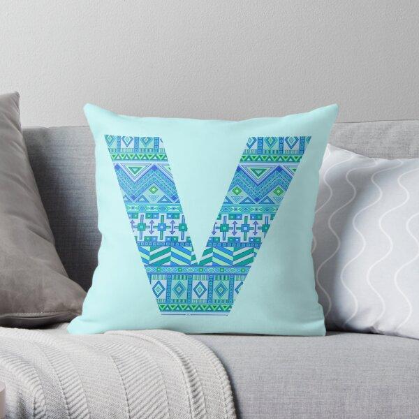 Letter V Blue Aztec Stripes Pattern Boho Monogram Initial Throw Pillow