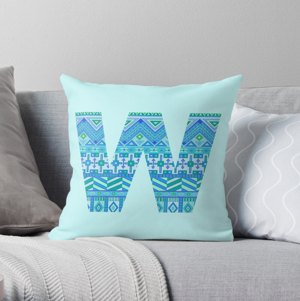 Letter W Blue Aztec Stripes Pattern Boho Monogram Initial Throw Pillow