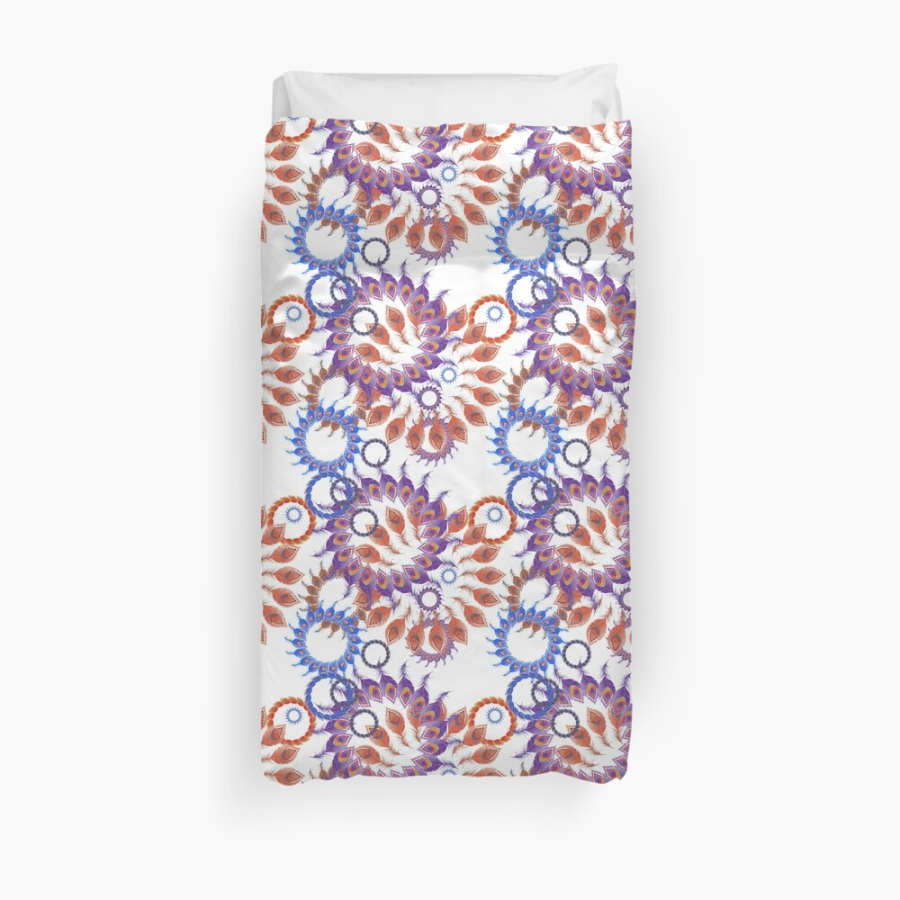 Blue and Orange Abstract Peacock Feathers Spiral Pattern Duvet Cover