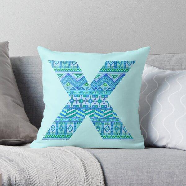 Letter X Blue Aztec Stripes Pattern Boho Monogram Initial Throw Pillow