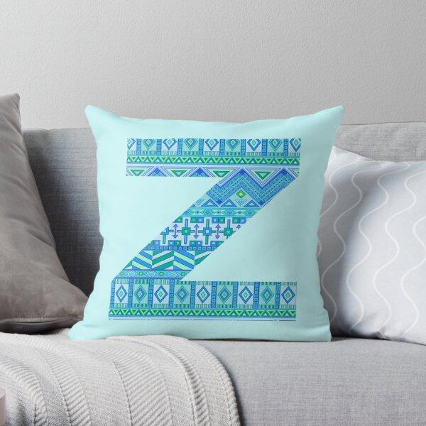 Letter Z Blue Aztec Stripes Pattern Boho Monogram Initial Throw Pillow