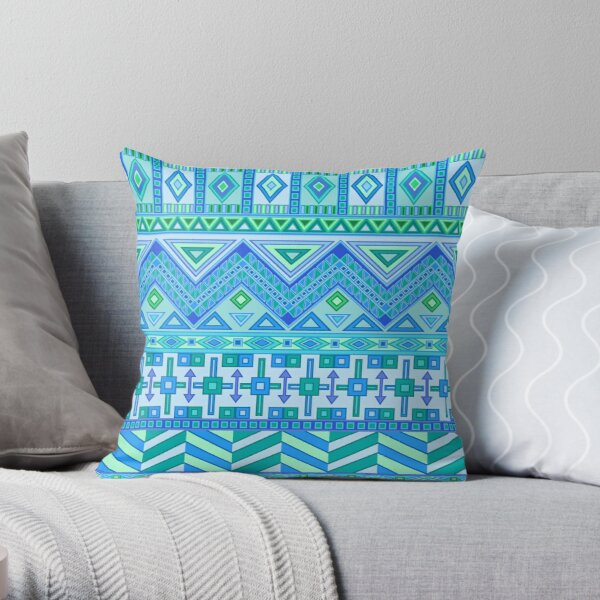 Aztec Tribal Pattern Blues Greens American Southwest Throw Pillow