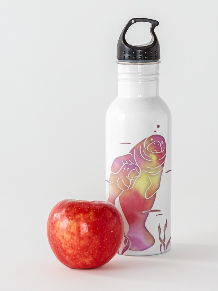 Alternate view of Peach Sea Manatees Water Bottle