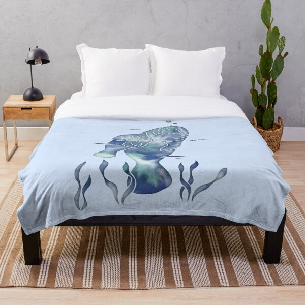 Blue Sea Manatees Throw Blanket