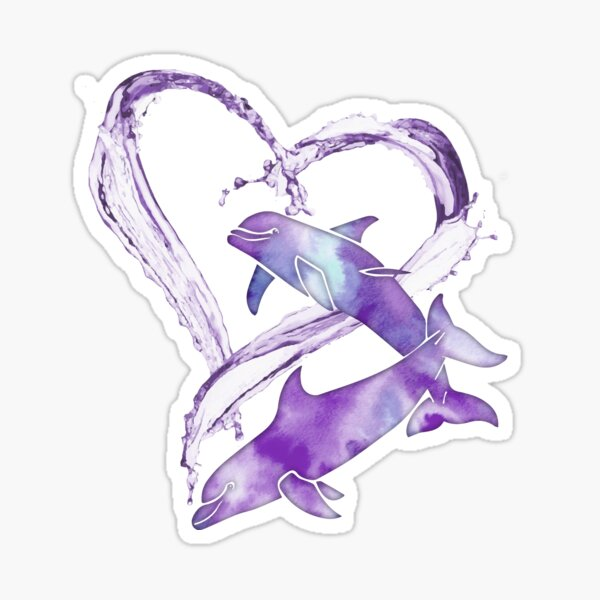 I Love Dolphins - Purple Passion Sticker
