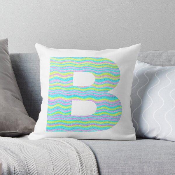 Letter B Neon Wavy Stripe Pattern Monogram Initial Throw Pillow