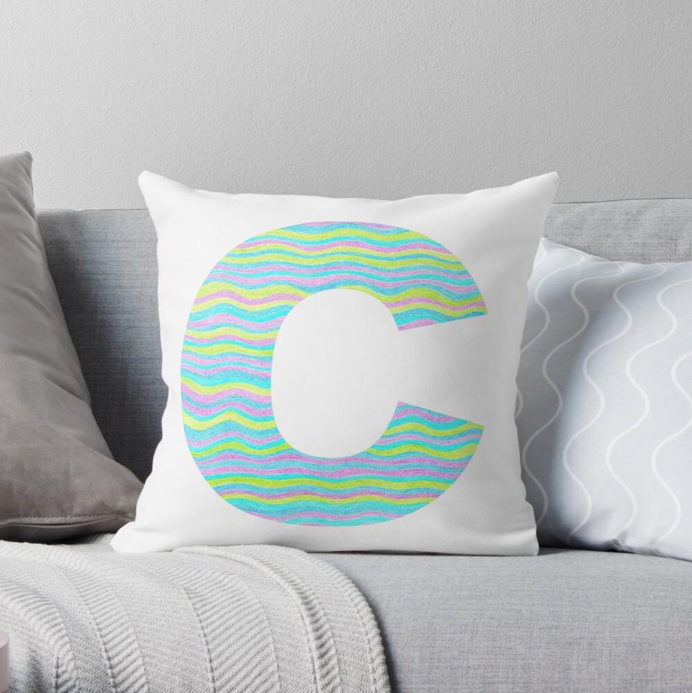 Letter C Neon Wavy Stripe Pattern Monogram Initial Throw Pillow