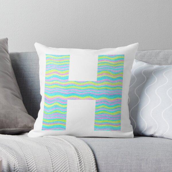 Letter H Neon Wavy Stripe Pattern Monogram Initial Throw Pillow