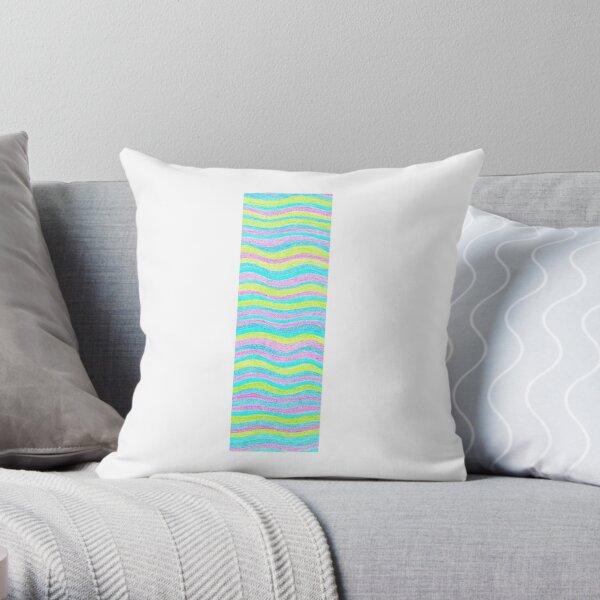 Letter I Neon Wavy Stripe Pattern Monogram Initial Throw Pillow