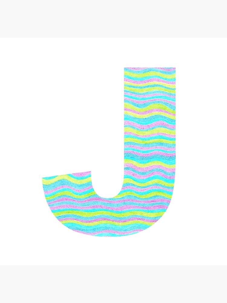 Letter J Neon Wavy Stripe Pattern Monogram Initial by theartofvikki