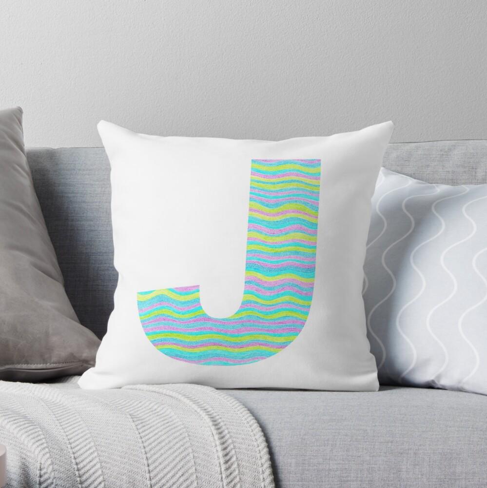 Letter J Neon Wavy Stripe Pattern Monogram Initial Throw Pillow