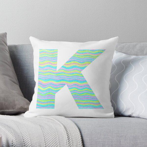 Letter K Neon Wavy Stripe Pattern Monogram Initial Throw Pillow