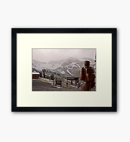 Snowing on the summit Framed Print