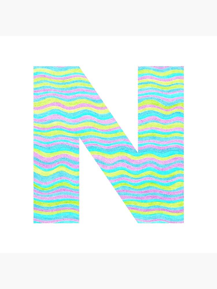 Letter N Neon Wavy Stripe Pattern Monogram Initial by theartofvikki