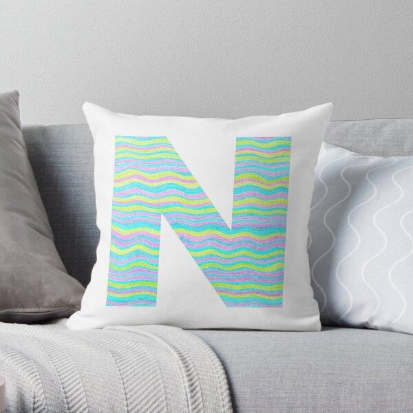 Letter N Neon Wavy Stripe Pattern Monogram Initial Throw Pillow