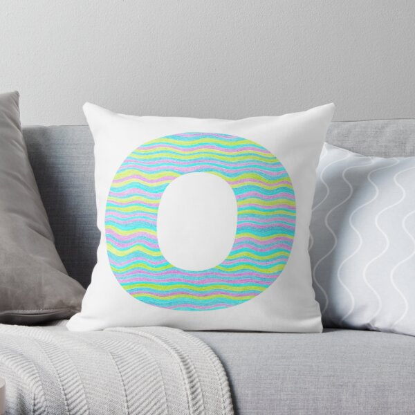 Letter O Neon Wavy Stripe Pattern Monogram Initial Throw Pillow