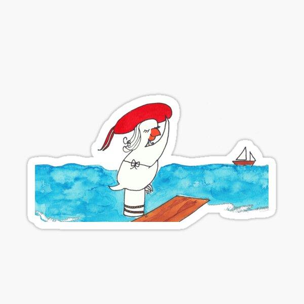 pin up girl on the beach Sticker