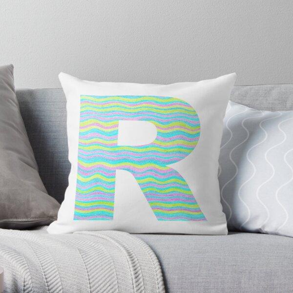 Letter R Neon Wavy Stripe Pattern Monogram Initial Throw Pillow